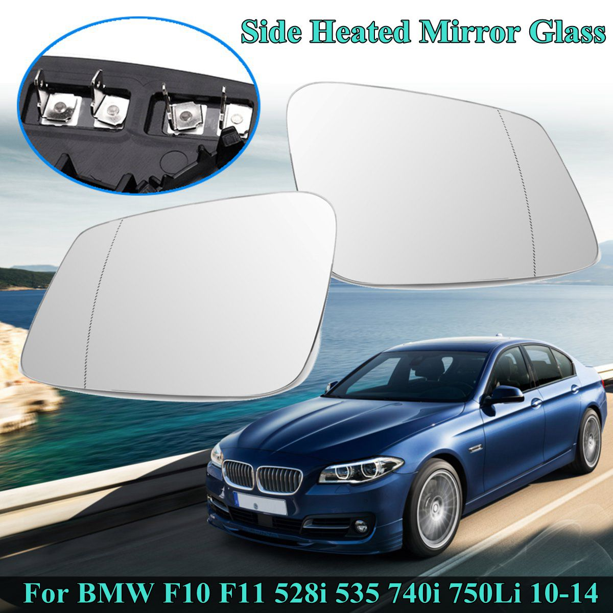 Right Side Door Mirror Glass Heated Blue For BMW 5 E60 E61 E63 E64 2003-2009