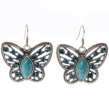 ZOSHI 2017 Charms butterfly tibetan silver earring Blue Stone crystal jewelry vintage earrings for women jewelry big discount