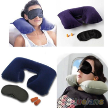 Inflatable Travel Flight Pillow Neck U Rest Air Cushion+ Eye Mask+Earbuds