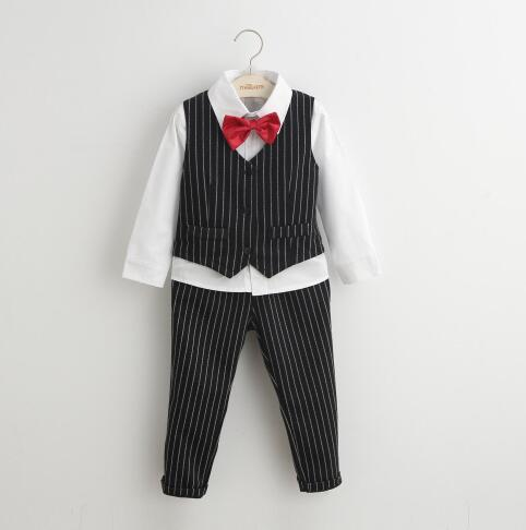 2016 autumn and spring boy childrens clothing striped wholesale children boys formal clothes sets three-piece suit 3pcs<br><br>Aliexpress