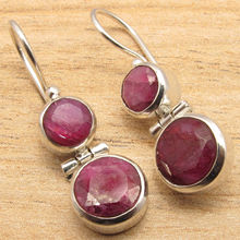 FACETTED Red rubi 2 Gem WOMEN'S CHRISTMAS Earrings !  Silver Plated NEW 3.3 cm