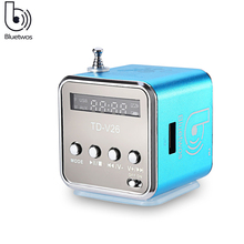Bluetwos TD-V26 Mini Speaker Portable Micro SD/TF Music Player Digital LCD Sound FM Radio Stereo Loudspeaker For PC Laptop MP3