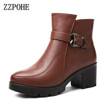 ZZPOHE Winter Fashion Genuine Leather Women Boots Female Ankle High Heel Wedges Boots Plus size Warm Women Shoes Ladies boots