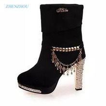 Women's shoes 2016 autumn The new female boots Female solid metal tassel high heels with big boot Fashion Martin boots
