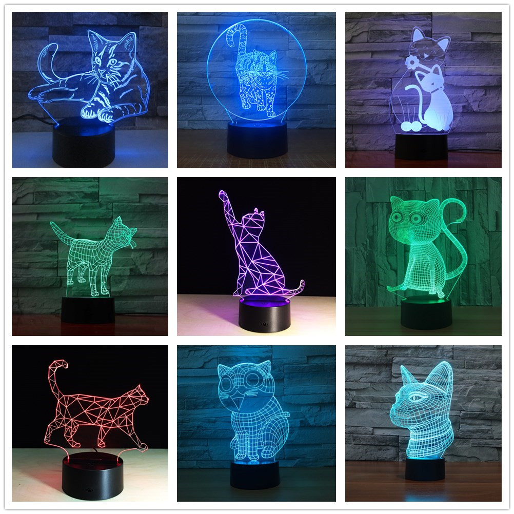 Ilusi/ón Optica 3D Gato Luz de Noche 7 Colores que Cambian USB Poder Touch Switch Decor L/ámpara LED Mesa L/ámpara Ni/ños Juguetes Cumplea/ños Navidad Regalo