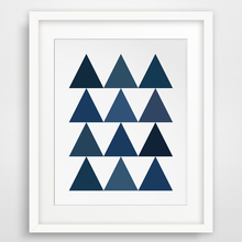 Geometric Triangles Canvas Oil Painting Wall Pictures Blue Art Printable Wall Pictures Posters Kids Room Home Decor No Frame
