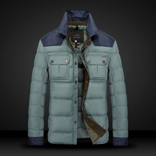 Men white duck down jacket high quality brand Winter warm down jacket men plaid casual mens down coat parka jacket 8556