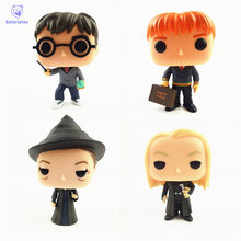 NEW 10cm Harry Potter and Lucius Malfoy Fred Weasley Mcgonagall action figure Bobble Head Q Edition new box for Car Decoration(China)