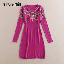 Royal embroidery floral womens sweater dresses autumn winter European runway red elegant beautiful lady wool sweater female S-XL