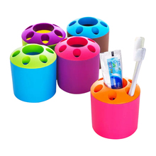 3Pcs Large porous toothpaste tooth brush holder Multi-functional desktop pen container for kids send by random color free ship(China)