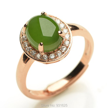 925 Silver Rose Gold Natural Green HeTian Jade Gem Inlay Lucky Ring adjustable + Certificate Fine Jade Rings Fashion Jewelry