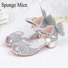 Sponge mice Children Princess Sandals 2017 Girls Sandals Kids Girls Wedding Shoes High Heels Dress Shoes Party Shoes butterfly