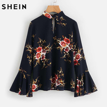 SHEIN Fluted Sleeve Double Keyhole Top Women Blouses Long Sleeve Navy Band Collar Long Sleeve Sexy Elegant Floral Blouse