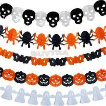 New Paper Chain Garland Decorations Pumpkin Bat Ghost Spider Skull Shape Halloween Decor Garland Decor