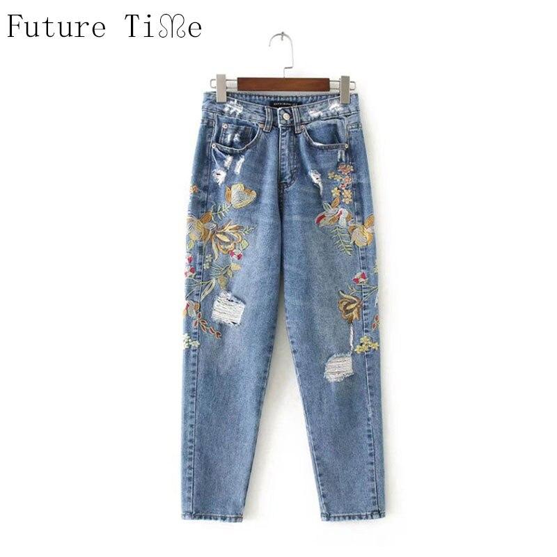 Future Time Women Boyfriend Jeans Flower Embroidery Denim Pants Casual Washed Ripped Pencil Pants Vintage Loose Trousers NZ045Îäåæäà è àêñåññóàðû<br><br>