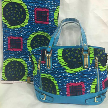 New Wax Printed Hand Bag with nice PU leather + Super real wax print one piece of 6yards Free shipping  BG1020
