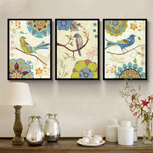 Bird on Branch Canvas Mural Picture Gorgeous Flower Pattern Nordic Wall Poster Retro Art Drawing Ornaments for Living Room Study