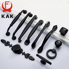 KAK Zinc Alloy Black Cabinet Handles American style Kitchen Cupboard Door Pulls Drawer Knobs Fashion Furniture Handle Hardware(China)