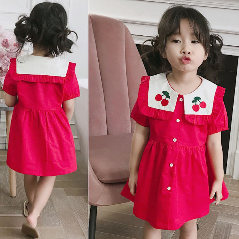 Summer Girl Kids Short Sleeve Slim Leopard Casual Pleated Party Mini Dress 2-9Y