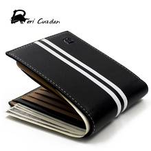 DERI CUZDAN HOT Fashion Brand Wallet Men Leather Mens Wallet Male Purse Short Card Holder Designer Wallet Black Vallet for Men(China)