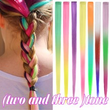"10 PCS Clip in hair extensions Straight hairpieces two tone colors ombre  20"" Synthetic hair Rainbow for Party"