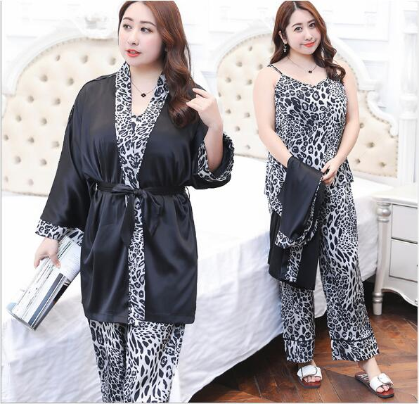 Plus size women's 2018 spring summer new satin pajamas Print casual family-wear fat mm three-piece XL-4XL                  Y093