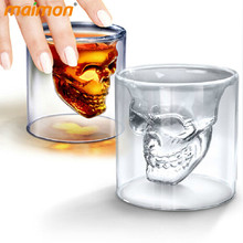 Novelty Double Wall Doomed Crystal Skull Shot Glass Cup Head Skull Vodka Whiskey Shot Wine Glass Cup Glassware Copo De Vidro Cup(China)