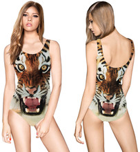 Brown Tiger Leopard Swimsuits Wild Animal Printing Bathing Suit Sexy One Piece Bodysuit Women Push Up Swimwear Backless Monikini