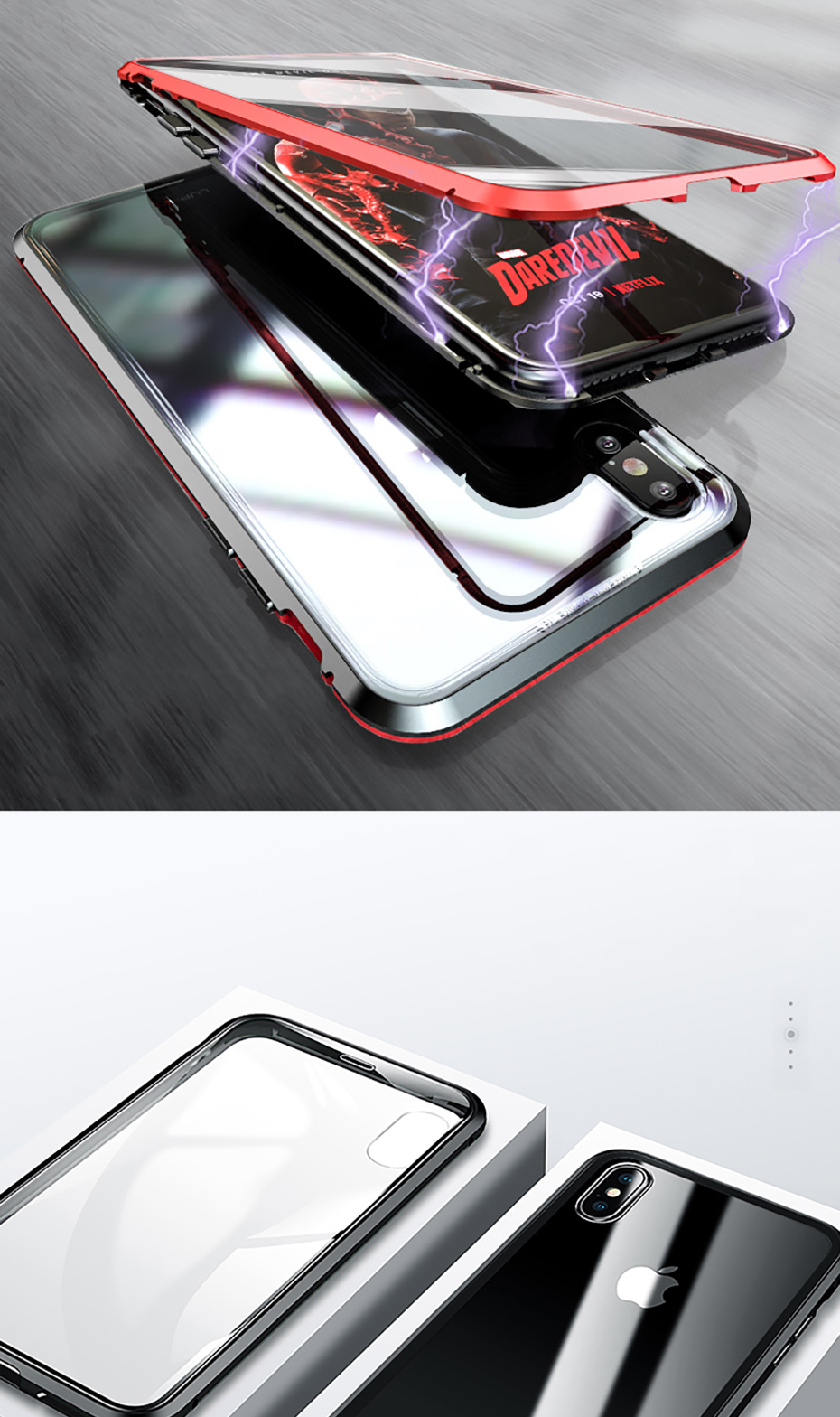 Double sided glass Magnetic case for iphone XS Max X 7 8 Plus Luxury metal 360 degree Full protection cover for iphone 7 8 Xr (3)