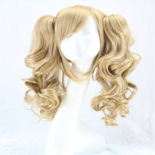 HOT long lolita wig ponytails heat resistant wavy synthetic wigs curly blonde 2 ponytail anime wig cosplay hair wigs for women