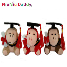 7cm graduation plush Monkey keychain with 3 colors Plush toys wholesale 60pcs/lot