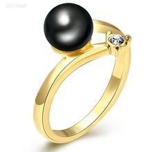 Hot sale Wholesale Italina Brand Fashion luxury Jewelry Crystal White Black Onyx gold-color Tail Opening Ring For Women