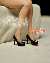 "1/6 Scale Female High Heel Shoes Model Toys Girl Black Fashion Shoes P-052 Model For 12"" Action Figure Body Accessory"