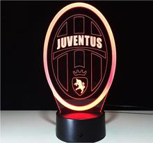 Innovative Football club 3D Night Lights for Italy Juventus Club Seven Colors Led Touch Lamp as Creative Gifts Lampara USB