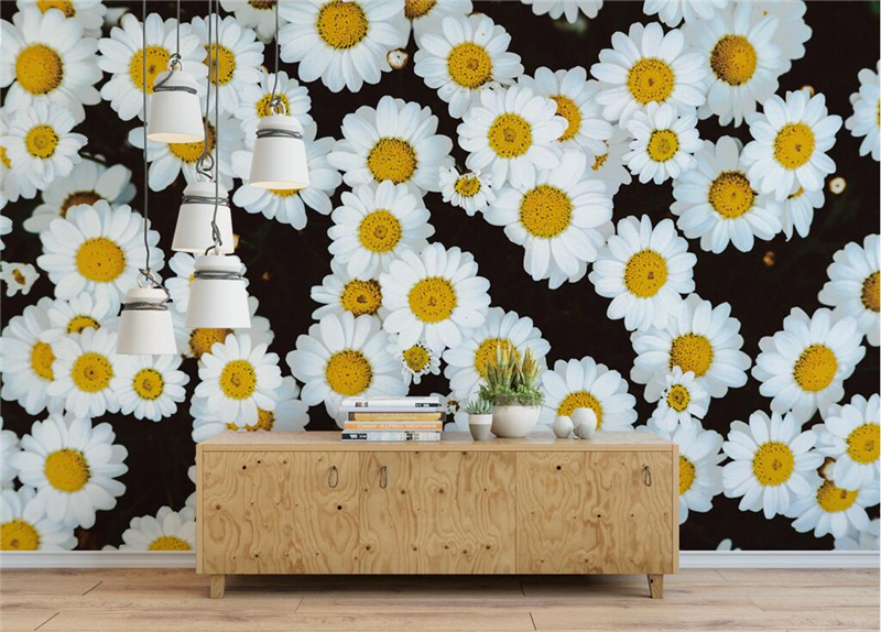 Custom 3d Wallpaper Walls Fashion Beautiful Daisy Photo Wallpaper for Study Living Room Kids Room Bedroom Restaurant Kitchen<br>