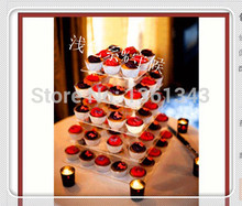 5 Tier Plexiglass Square Wedding Display birthday party decoration of tray Perspex Cup Cake Stand