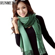 [RUNMEIFA]Wholesale 2017New Fashion Winter Women Pashmina Cashmere Gradual color Scarf two double Colors Wrap Shawl Tassel Scarf(China)
