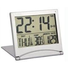 e15a0766108 Portátil Dobrável Travel Alarm Clock Digital Display LCD Temperatura  Estação Meteorológica Termômetro Casa Table Desk Clocks Sno.