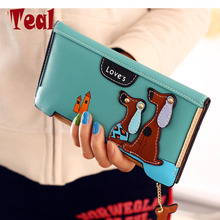 Cute Cartoon Fashion Cute Puppy Zipper Long Wallet Cartoon Dog 6 Colors PU Leather Women Wallets Ladies Clutch Card Holder(China)