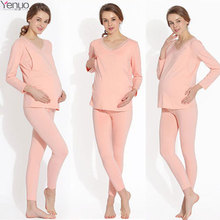 Cotton Women Nursing Sets Pregnancy Home Pajamas Sleepwear Maternity Clothes For Pregnant Women Breastfeeding Soft Fabric Suits(China)