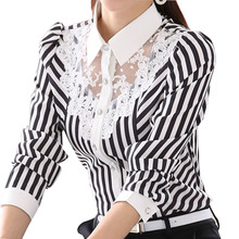 Buy Women Lace Blouses 2018 New Long Sleeve Striped Shirts Casual Fashion OL Work Women Tops Blusas Shirt Femininas Plus Size GV501 for $11.27 in AliExpress store