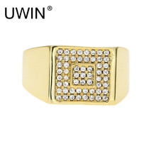 UWIN Men Hip hop Ring Iced Out Bling Rhinestone Crystal Copper Gold Silver Square Rings Fashion Punk Jewelry