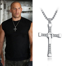 2015 New Fast and Furious Dominic Toretto Cross Pendant Necklace for Men Popular Silver Plated Movie Crystal Rope Chain Jewelry(China)