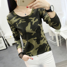 Fashion Women camouflage T shirt 2017 New fall Cute young girl Child Printed Tee Shirt Femme Long Sleeve spring Tops Creative(China)