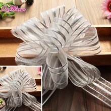 10pcs/lot 50 MM Organza Pull Bow Ribbons Giftwrap Wedding Party favour gift box decoration Striped Scrapbook Valentine Day