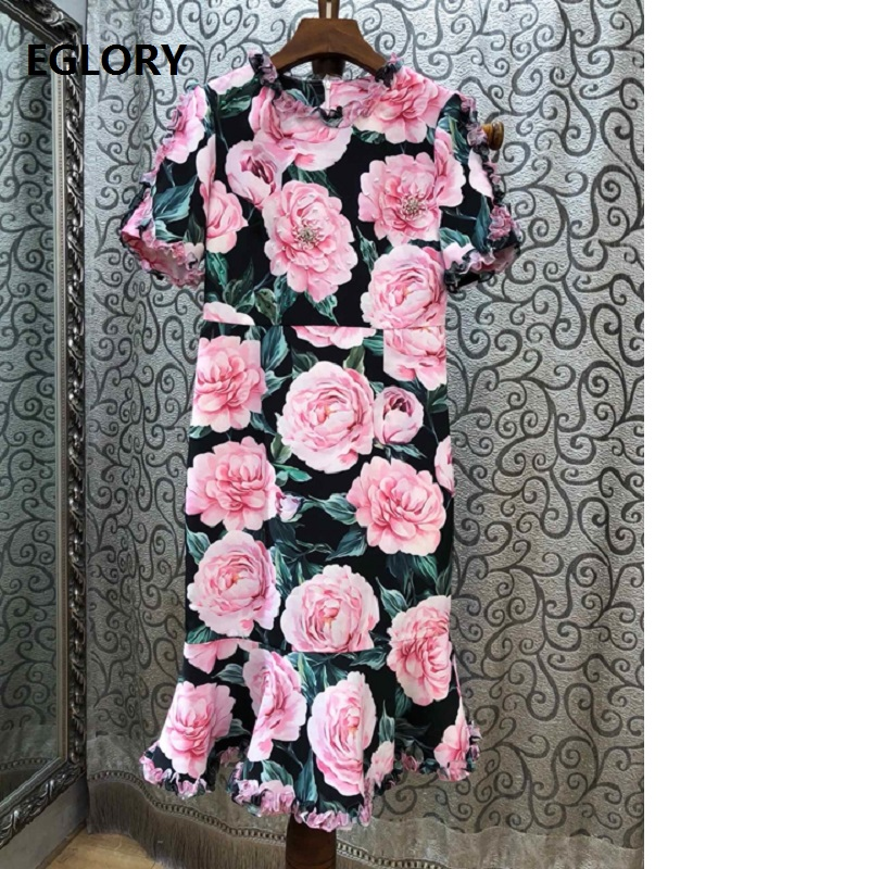 Women Dresses New Arrival 2019 Spring Fashion Ladies O-Neck Rose Flower Print Hand Made Beading Short Sleeve Party Mermaid Dress