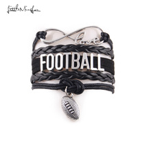 Buy Little Minglou Infinity Love FOOTBALL bracelet Sport football mom charm leather wrap men bracelets & bangles women jewelry for $1.32 in AliExpress store