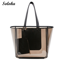 New Transparent Totes With Small Purse Luxury Women Handbag High Capacity Shoulder Bag PVC Waterproof Mochila Beach Bag
