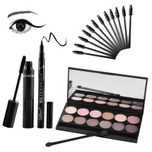 Qibest Eyes Makeup Set Mascara + Eyeliner + Eyeshadow + Eyelash Makeup Brush Magical Halo Mascara Make up Kits(China)