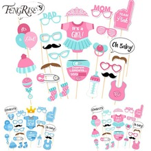 FENGRISE 25pcs Baby Shower Favors Photo Booth Props Its a Boy Girl Fun Photobooth 1st Birthday Party Decoration Blue Pink